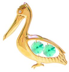 Gold Plated Pelican Sun Catcher (Magnet) w/Swarovski Element Crystal