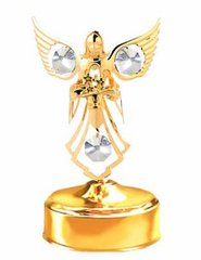 Gold Plated Angel w/Flower Music Box w/Clear Swarovski Element Crystal