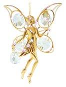 Gold Plated Fairy w/Rose Ornament w/Swarovski Element Crystals