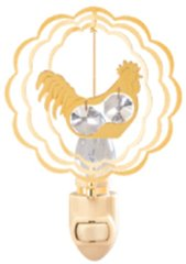 Gold Plated Twin Rooster Night Light w/Swarovski Element Crystal
