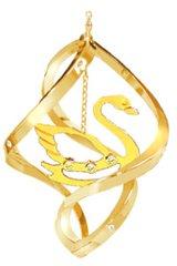 Gold Plated Swan Spiral Ornament w/Swarovski Element Crystals