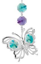 Chrome Plated Butterfly Hanging Charm Ornament w/Green Swarovski Element Crystal