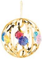 Gold Plated Small Crystal Ball Ornament w/Swarovski Element Crystal