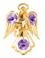 Gold Plated Small Angel w/Star Ornament w/Purple Swarovski Element Crystals