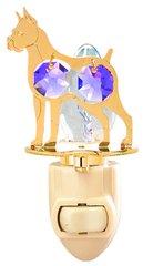 Gold Plated Dog (Boxer) Night Light w/Purple Swarovski Element Crystal