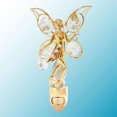 Gold Plated Fairy w/Rose Night Light w/Swarovski Element Crystal
