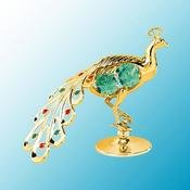 Peacock on stand w/Green Swarovski Element Crystal