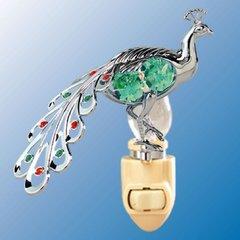 Peacock Night Light w/Swarovski Element Crystal