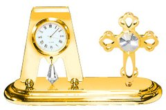 Gold Plated Mini Cross Desk Clock w/Clear Swarovski Element Crystal