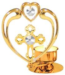 Gold Plated Cross in Heart T-Lite w/Swarovski Element Crystal