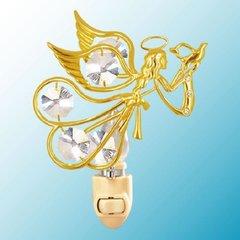 Gold Plated Flying Angel w/Dove Night Light w/Swarovski Element Crystal