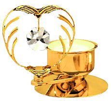 Gold Plated Crystal in Heart T-Lite w/Swarovski Element Crystal