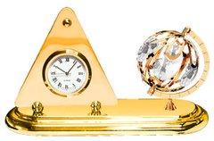 Gold Plated Spinning Globe Desk Clock w/Clear Swarovski Element Crystal