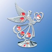 Gold Plated Angel w/Heart on stand w/Red Swarovski Element Crystal