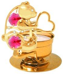 Gold Plated Bear w/Heart w/Swarovski Element Crystal