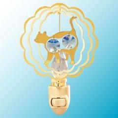 Gold Plated Twin Cat Night Light w/Swarovski Element Crystal
