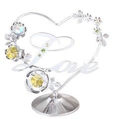 Love in Heart w/ Flower on Stand w/Swarovski Element Crystal