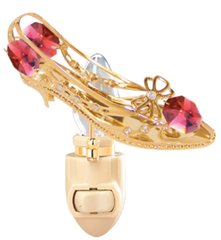 Gold Plated Shoe/Butterfly Bow Night Light w/Swarovski Element Crystal