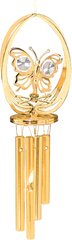Gold Plated B-Fly in Ellipse Wind Chime w/Clear Swarovski Element Crystal