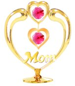Gold Plated Heart in Heart w/Mom on Stand w/Red Swarovski Element Crystals