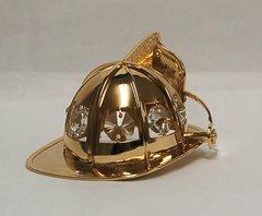 Gold Plated Firefighter's Helmet Free Standing w/Swarovski Element Crystal