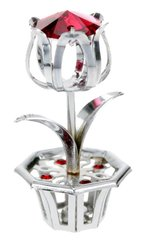 Flower in Pot Free Standing with Red Swarovski Element Crystal