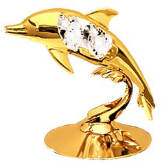 Gold Plated Dolphin Free Standing w/Swarovski Element Crystal