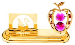 Gold Plated Apple Card Holder w/Swarovski Element Crystal