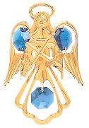 Gold Plated Small Angel w/Cross Ornament w/Blue Swarovski Element Crystals