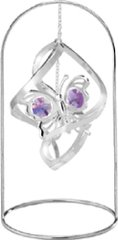 "Chrome Plated Butterfly Spiral w/ 8"" Arch Stand Ornament w/Purple Swarovski Element Crystal"