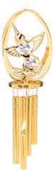 Gold Plated Hummingbird in Ellipse Wind Chime w/Clear Swarovski Element Crystal