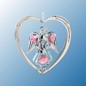 Chrome Plated Angel w/Heart in Heart Ornament w/PInk Swarovski Element Crystal