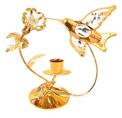 Gold Plated Hummingbird/Flower Deluxe Tapered Candle Holder w/Swarovski Element Crystal