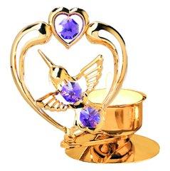Hummingbird with Heart T-Lite w/Purple Swarovski Element Crystal