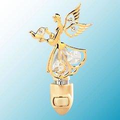 Gold Plated Mini Angel w/Dove Night Light w/Swarovski Element Crystal