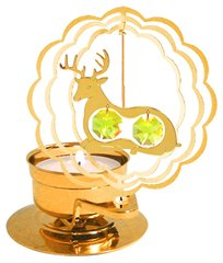 Gold Plated Deer T-Lite w/Swarovski Element Crystal