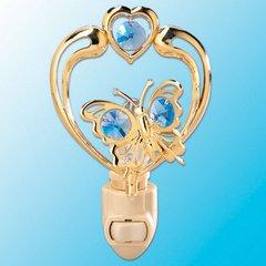 Butterfly in Heart Night Light w/Swarovski Element Crystal