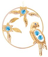 Gold Plated Parrot/Flowers Ornament w/Blue Swarovski Element Crystal