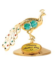 Happy Mother's Day - Peacock on Stand w/Green Swarovski Element Crystals