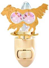Gold Plated Dog (Collie) Night Light w/Pink Swarovski Element Crystal