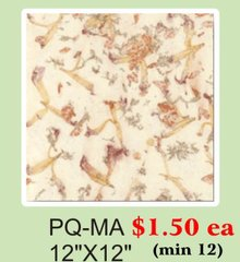 "12"" x 12"" Premium Quality (PQ) Handmade Real Flower Paper - Only $1.5 each (Set of 12 = total $18)"