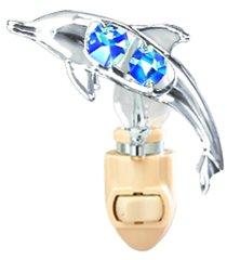 Chrome Plated Dolphin Night Light w/Swarovski Element Crystal