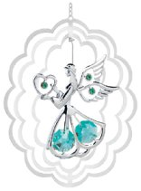 Chrome Plated Angel w/Heart in Oval Ornament w/Green Swarovski Element Crystal