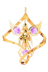 Gold Plated Angel w/Flower Spiral Ornament w/Pink Swarovski Element Crystal