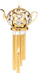 Gold Plated Teapot Wind Chime w/Clear Swarovski Element Crystal