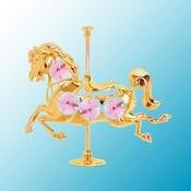 Gold Plated Carousel Horse on stand w/Purple Swarovski Element Crystal