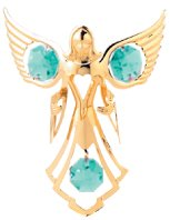 Gold Plated Angel w/Embracing Ornament w/Green Swarovski Element Crystal