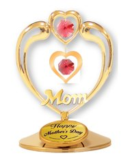 """Happy Mother's Day - """"Mom"""" in Heart on Stand w/Red Swarovski Element Crystals"""