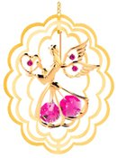 Gold Plated Angel w/Heart in Oval Ornament w/Red Swarovski Element Crystal