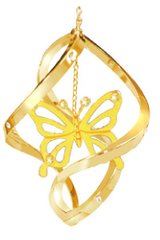 Gold Plated Butterfly Spiral Ornament w/Swarovski Element Crystal